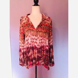 Anthropologie velvet button down blouse